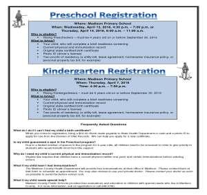 2016 Preschool and Kindergarten Registration Flyer
