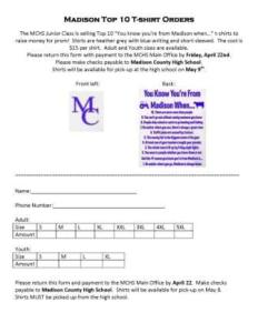 tshirt order form march 16