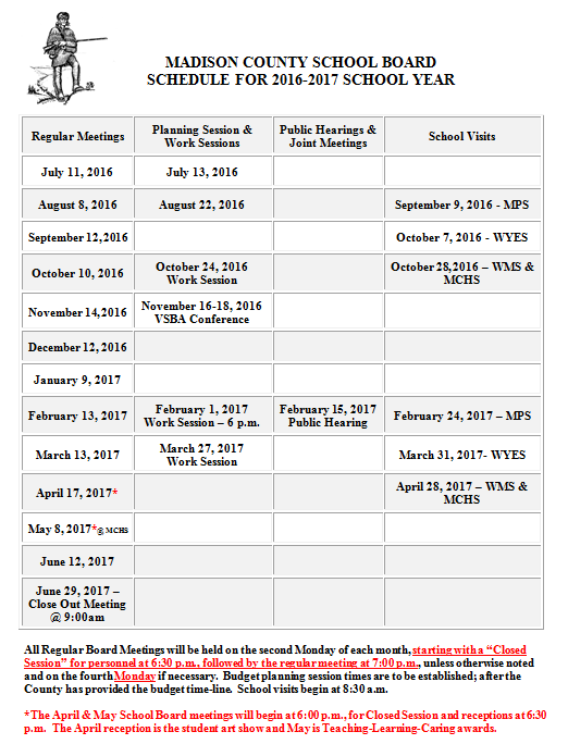 2016-17 School Board Meeting Schedule