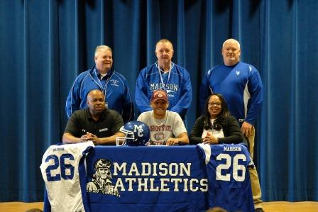 (l to r) Gary Wintersgill (HS Principal), Ira Smith (father), Isiah Smith, Phil Warren (AD), Stacey Smith (mother), Stuart Dean (Head Football Coach)