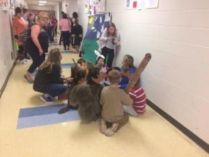 Destination Imagination Students Preparing in Hallway