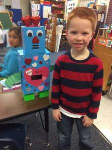 Student With Valentine's Day Robot Box